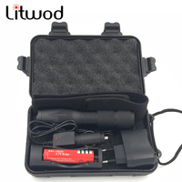 Litwod A100 XML-T6 3000LM LED Linterna 5 interruptor de Modos de Zoomable Brillante chip/L2 linterna metálica led de Encendido de la Antorcha