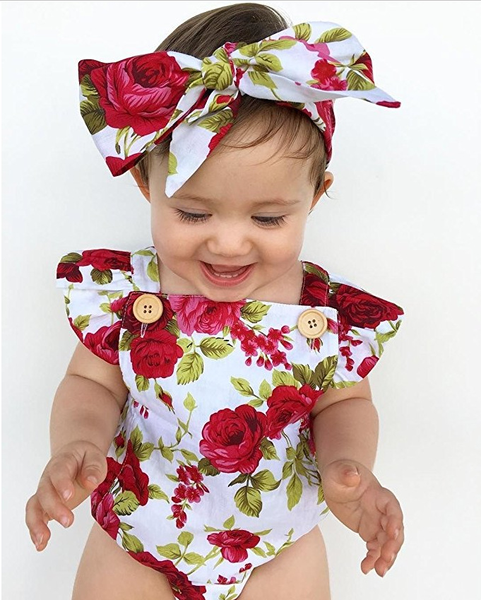 2pcs/set newborn baby girls floral Rompers+headband red white flower summer baby girl jumpsuit clothes fashion outfits