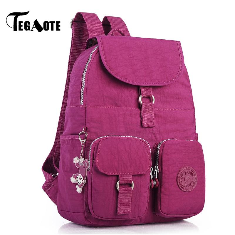 TEGAOTE Nylon Waterproof Small Backpack for Teenage Girls Mochila Feminina Casual Solid Women Backpacks Pocket Daypack