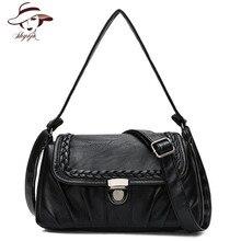 Famous Brand 2018 High Quality Sheepskin Genuine Leather Handbag Women Messenger Bag Shoulder Bag Female Knitting Crossbody Tote