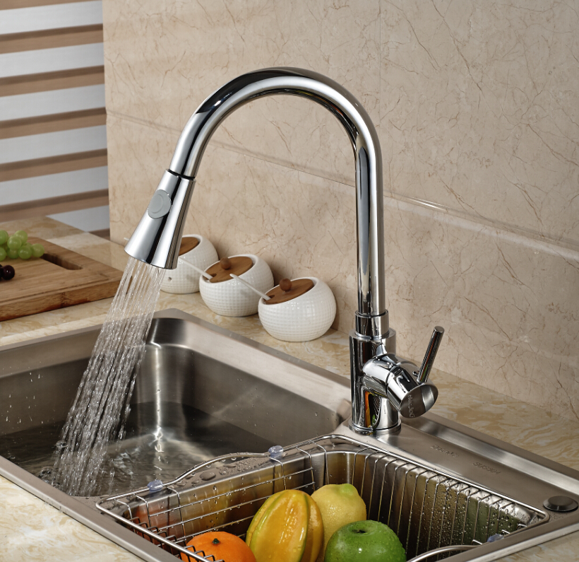 Pull Out Chrome Brass Kitchen Faucet Vessl Sink Mixer Tap Dual Sprayer Deck Mounted Single Handle