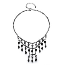 Silikolove 1set New Fashion Drop Tassel Crystal Pendant Necklace Earrings Set Women Valentine Gifts
