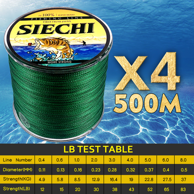 Best Price SIECHI 4 Braid Braided Fishing Line 500M Super Strong Multifilament Fishing Lines 4 Strand Peach Essays Rope 12LB-83LB