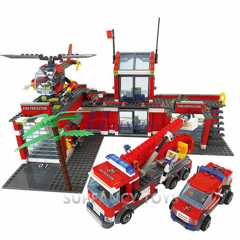 774Pcs Kota Stasiun Pemadam Kebakaran Blok Bangunan Set Api Mesin Tempur Teknik Mobil Truk Batu Bata Playmobil Legoingls Mainan untuk Anak