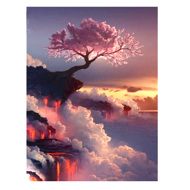 acrylic painting by numbers on canvas paintings decoration living room pink tree on cliff wall art pictures for drawing WY5231 Велюр