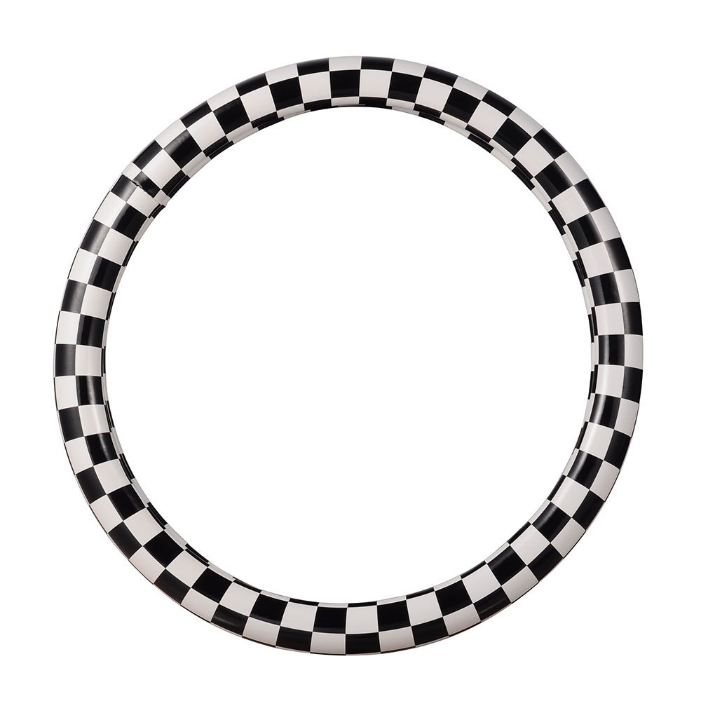 M Көлемі Автомобиль руль дөңгелегі Қара және ақ плаид стильді руль рулінің қақпағы PU былғары 38cm автомобиль рульдік қақпақ