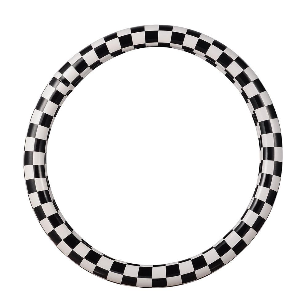 M Μέγεθος Αυτοκινήτου Τιμόνι Τιμόνι Μαύρο και Άσπρο Πινέλο Καλύμματα Καλύμματα Δερμάτινα PU Δερμάτινα Καλύμματα 38cm