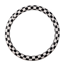 M Size Automobile Steering Wheel Cover Black And White Plaid Styling Steering Covers PU Leather 38cm Car Steering Covers