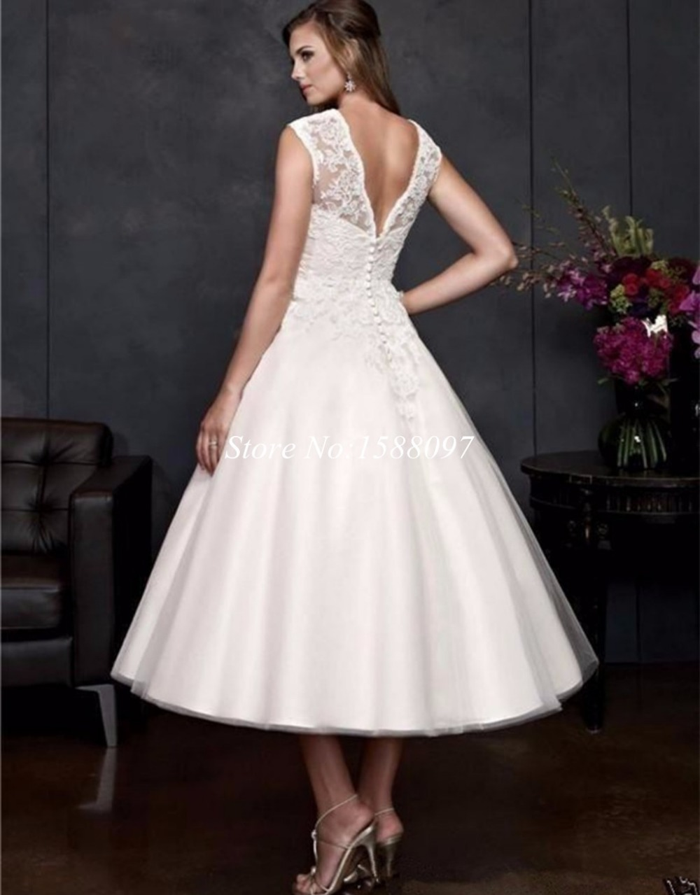 2015 New Ivory Wedding Dresss Short Vintage Lace Covered Dress Prince A Line Tea Length Bridal Under 100 In Dresses From