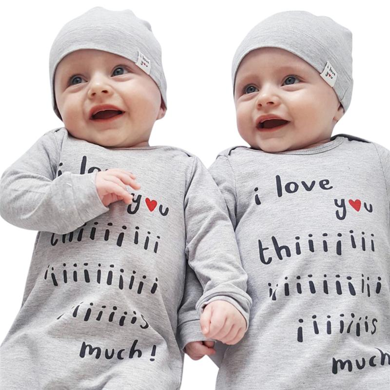 Autumn 2017 New Baby Romper Clothing 2pcs Baby Boy Girl Letter Print Cotton Long Sleeve Romper Jumpsuit +Hat Outfit Clothes Set