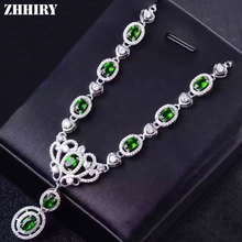 ZHHIRY Natural Green Diopside Necklace Genuine 925 Sterling Silver Necklace Pendant For Women Jewelry Party
