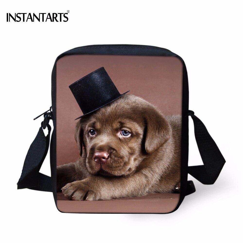 1e56602b7fb INSTANTARTS Cute 3D Dog Hat Labrador Retriever Print Women Men Messenger  Bags Brand designer Travel Crossbody