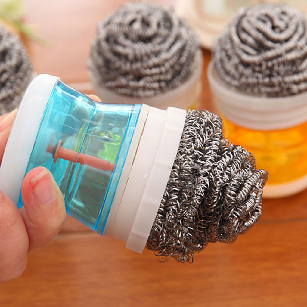 Stainless Steel Wire Ball Kitchen Cleaning Brush Scourer Pan Dish Bowl Pot Palm Brush Household Cleaning Tools Random Color