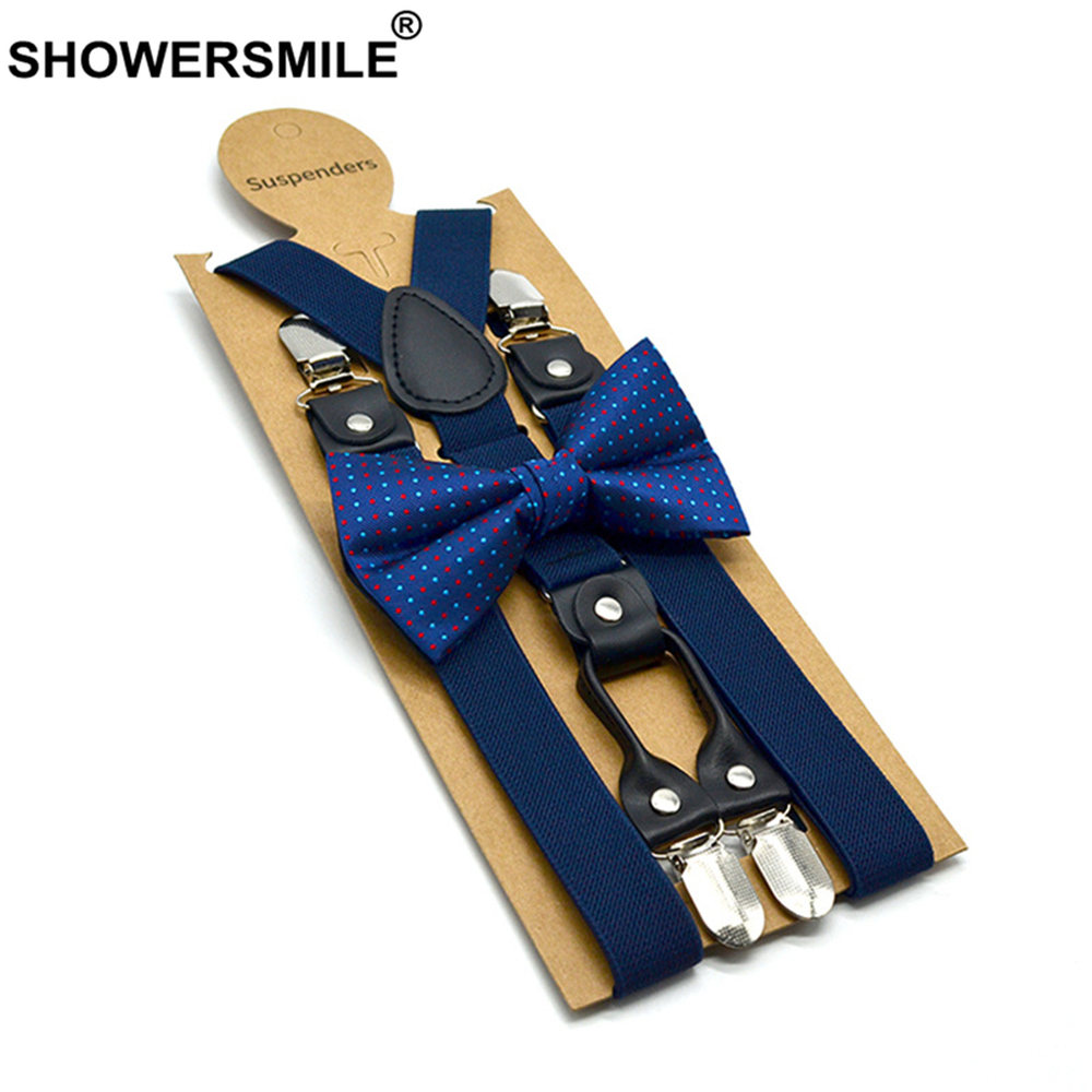 SHOWERSMILE Navy Mens Suspenders Braces 4 Clips Women Real Leather Suspenders Dress Solid Wedding High Quality Men's Braces