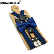 SHOWERSMILE Navy Mens Suspenders Braces 4 Clips Women Real Leather Dress Solid Wedding High Quality Men's