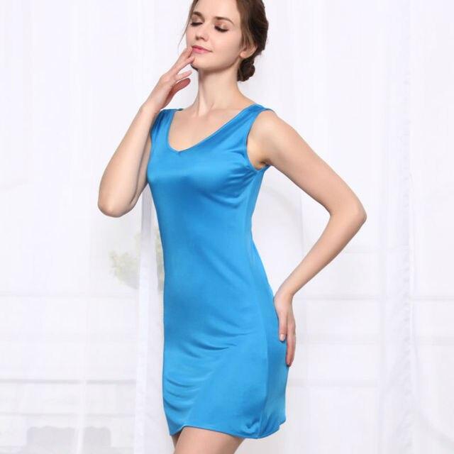 4c816f520d0194 100%REAL SILK women sleep dress solid basic slip dress V neck FULL slips  sleeveless