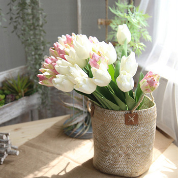 1Pc New 3D Printed Artificial tulips life-size spring Flowers wedding decoration flores Fake flowers real touch white tulip