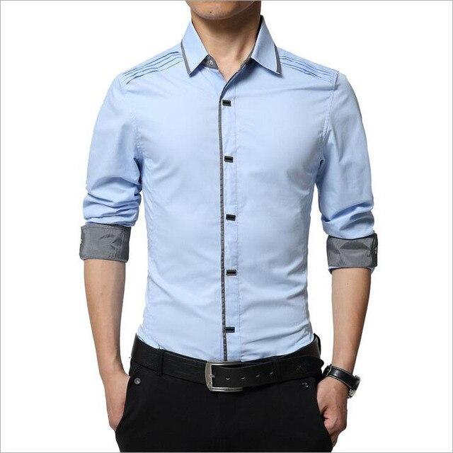 Мода Бренд Мужской Рубашки Хлопка Мужчины Платье Рубашка Насыщенный Белый бизнес Случайный Рубашки Мужчины Англия Стиль Формальные Camisa Slim Fit 2016