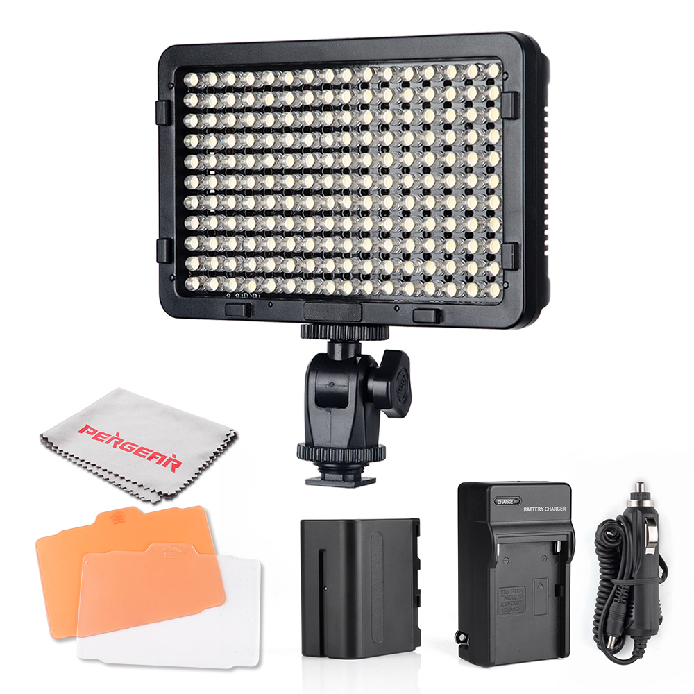 High Power 176 Led Video Light On Camera Camcorder Dimmable Photo Light Panel w/ Filters + Battery + Charger + Cleaning Cloth