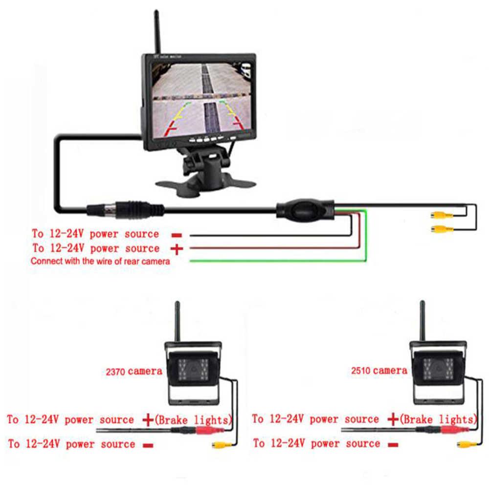 """Podofo Wireless Inverso Dell'automobile Che Inverte Dual Backup Videocamera Vista Posteriore per Camion Bus Escavatore Caravan Rv Trailer con 7 """"Monitor"""