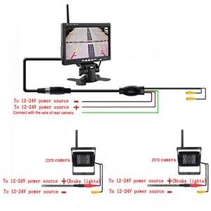 """Image 4 - Podofo אלחוטי לרכב הפוך היפוך כפול גיבוי מבט אחורי מצלמה עבור משאיות אוטובוס חופר קרוון RV קרוואן עם 7 """"צג"""