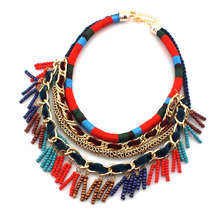 UKEN New Women Jewelry Bohemia National Hand Made Colorful Multilayer Chains And Beads Tassels Pendant Choker Necklace,N2328(China)