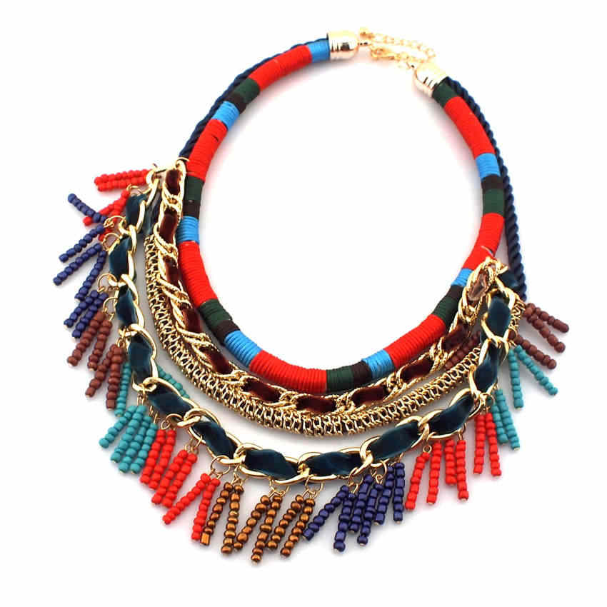 UKEN New Women Jewelry Bohemia National Hand Made Colorful Multilayer Chains And Beads Tassels Pendant Choker Necklace,N2328