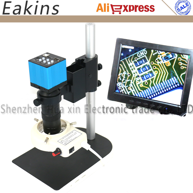 14MP CMOS HDMI Microscope Camera For Industry Lab PCB USB Output TF Card Video Recorder+C-mount Lens+56 LED Light+Stand+8 LCD 2mp 1080p cmos hdmi microscope camera for industry lab pcb usb output video recorder c mount lens 56 led ring light stand