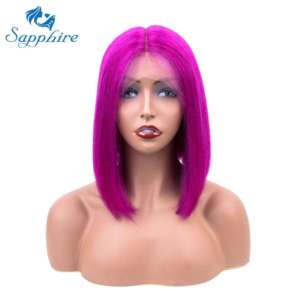 Sapphire Purple Straight Short Lace Front Human Hair Wigs Bob Wigs For Black Women Brazilian Middle