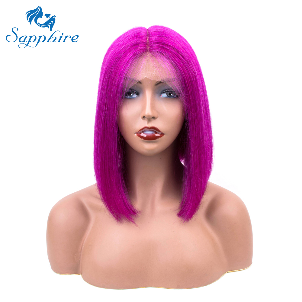 Sapphire Purple Straight Short Hairline Brazilian Lace Human Hair Wigs Bob Wigs For Black Women Brazilian Middle Part Lace Wig