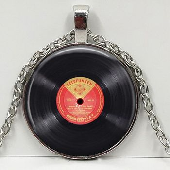 Vinyl Record pendant. Gramophone record necklace. Vinyl records albums, christmas gift image