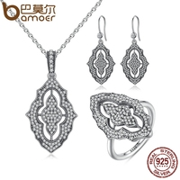 BAMOER 100 925 Sterling Silver Sparkling Lace Stunning Long Pendant Necklace Silver Jewelry Sets Sterling Silver