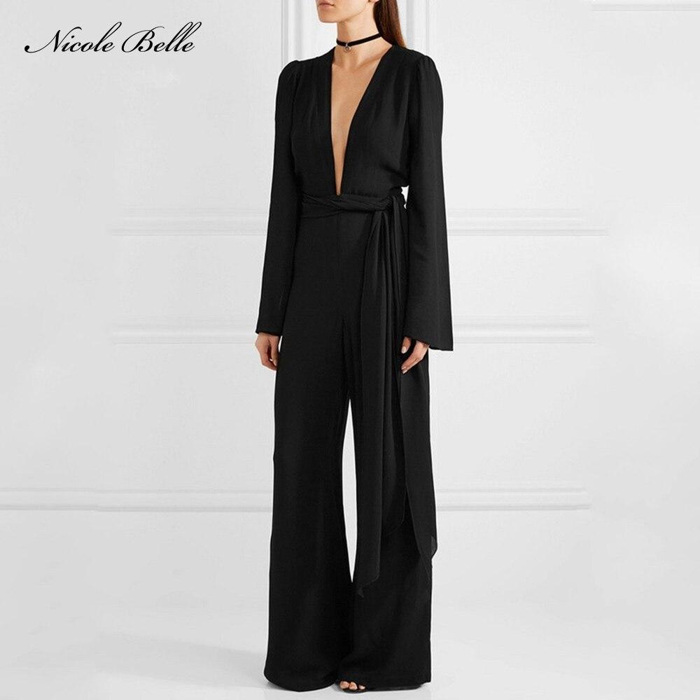 NICOLE BELLE 2017 New Fashion Sexy Deep V-neck Long Sleeve Black jumpsuits Party Belt Wholesale Women Bodysuit Overalls