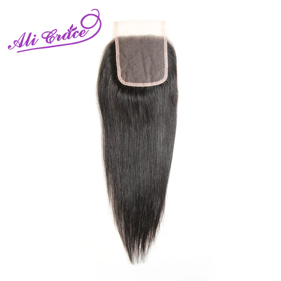 Ali Grace Hair Peruvian Straight 4 4 Lace Closure Middle Free Part Hand Tied Swiss Lace