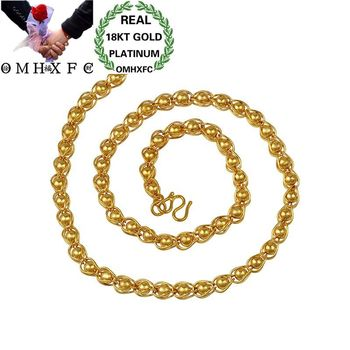 OMHXFC Wholesale European Fashion Man Boy Party Birthday Wedding Vintage Beads Thick Link 50cm 18KT Gold Chain Necklace EX111