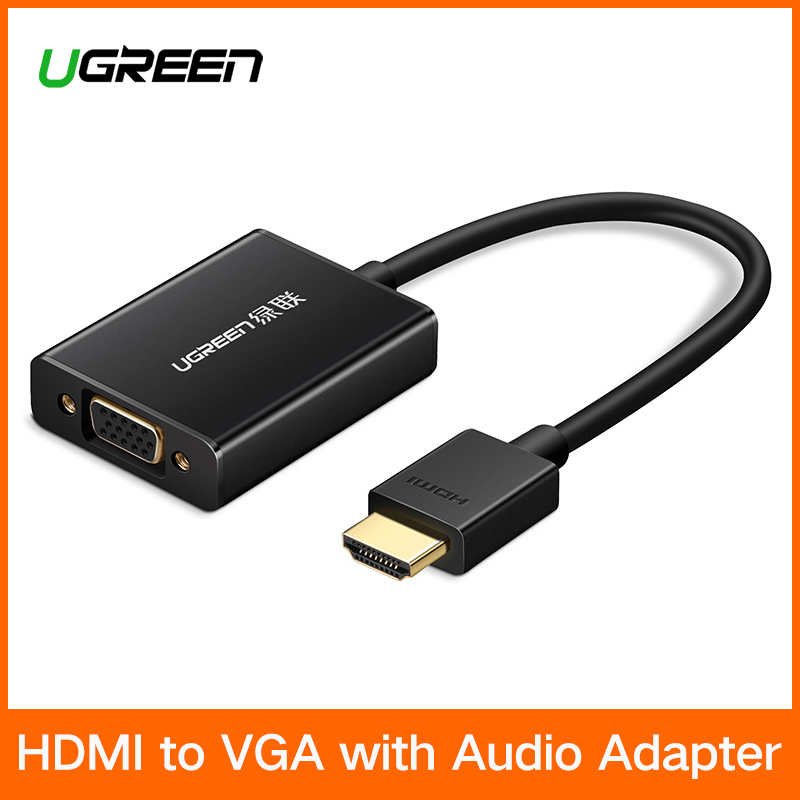 Ugreen HDMI to VGA Adapter Digital to Analog Video Audio Converter Cable HDMI VGA Connector for Xbox 360 PS4 PC Laptop TV Box mini hdmi male to hdmi female extension vga cable for hd tv digital camera video black 22cm