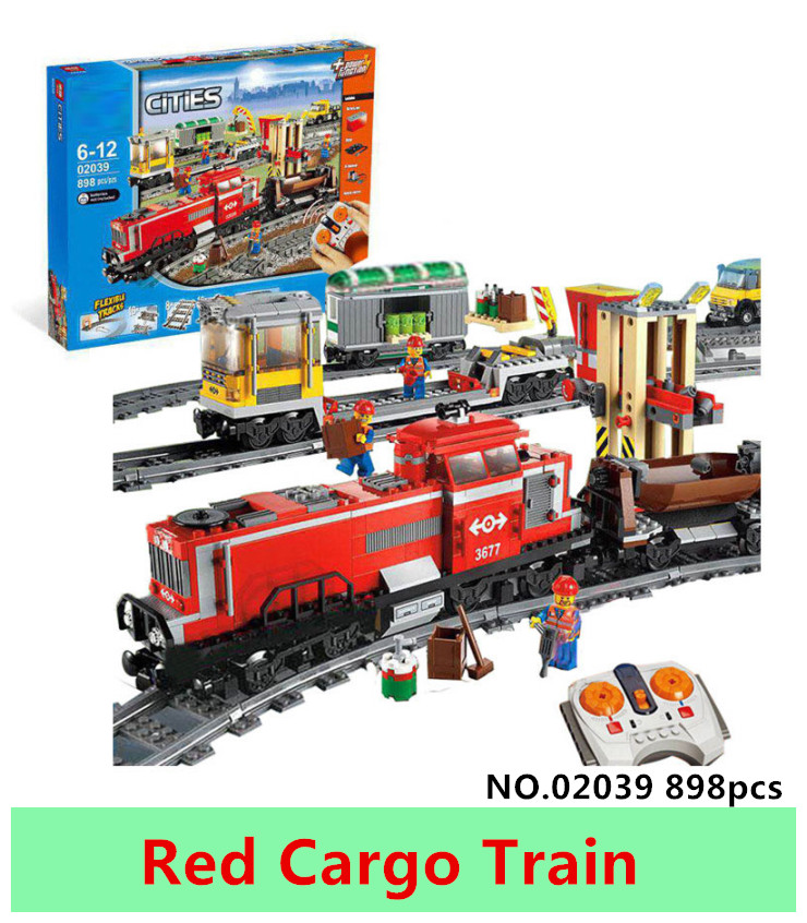 LEPIN 02039 898pcs City Red Cargo Train Building Brick Blocks RC Train Model educational Toys for children Gifts superwit 72pcs big size city diy creative building blocks brick compatible with duplo sets lepin educational toys children gifts
