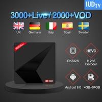 X88MAX TV Box UK Swedish FULL HD IPTV Subscription 1 Year IUDTV Android 9.0 TV Box RK3328 4G 64G Italy Spain English IUDTV IPTV