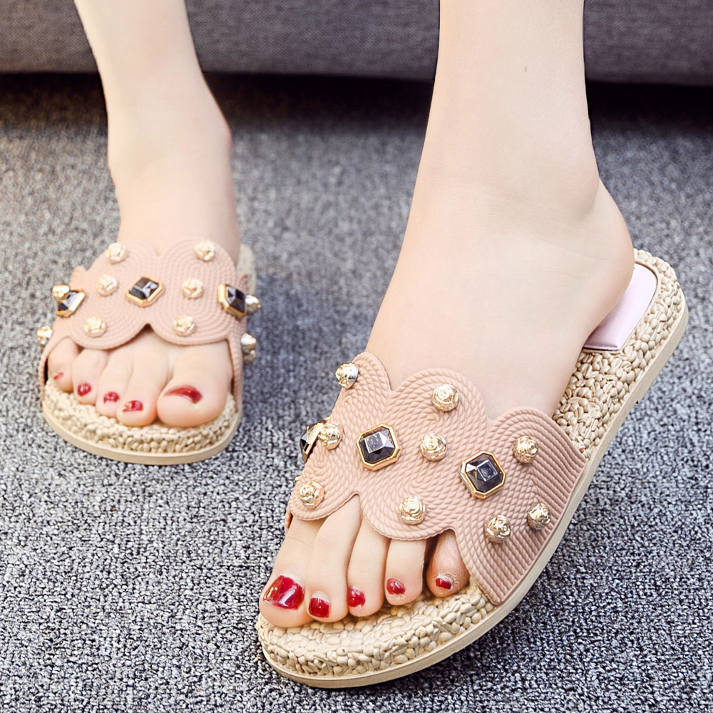 2019 summer new Korean rhinestone inlaid the most hot fashion pink soft soles not deformable Durable casual Women 39 s slippers in Slippers from Shoes