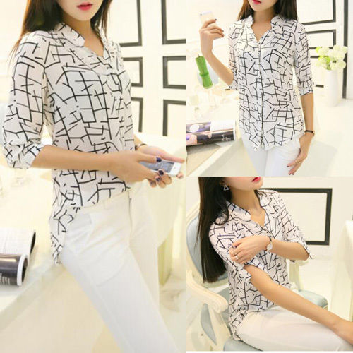 Hot 2019 Women Elegant Shirts Print Loose Chiffon Fashion Ladies Summer Spring Long Sleeve Blouse White Tops Casual S-XL