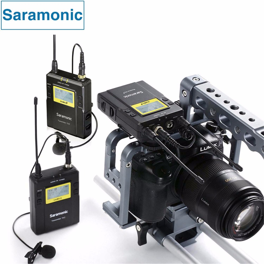 Saramonic UWMIC9 Broadcast UHF Camera Wireless Lavalier Microphone System Transmitters and Receivers for DSLR Camera &Camcorder saramonic vmiclink5 hifi 5 8ghz lavalier lapel wireless microphone system for news gathering