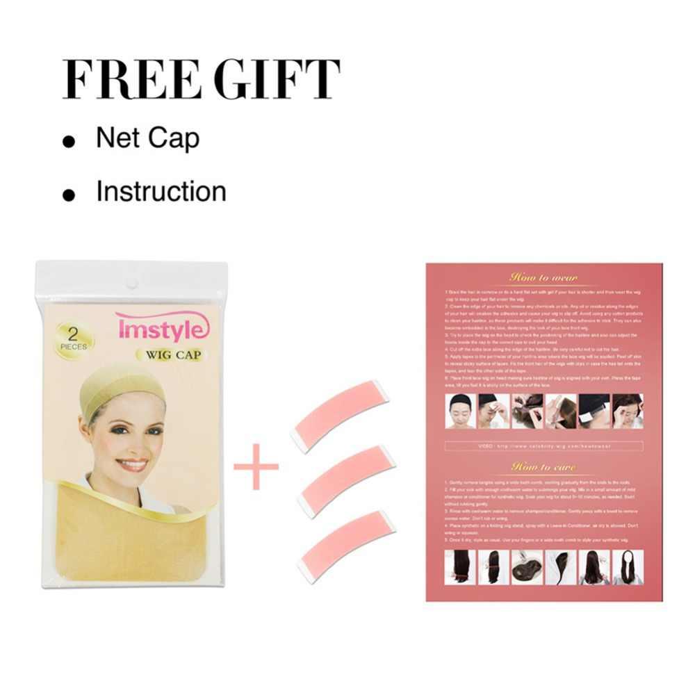 Imstyle свободные волнистые два тона Ombre парики из синтетических спереди парик шнурка для Для женщин термостойкие волокна длинные волосы розовый зеленый цвет