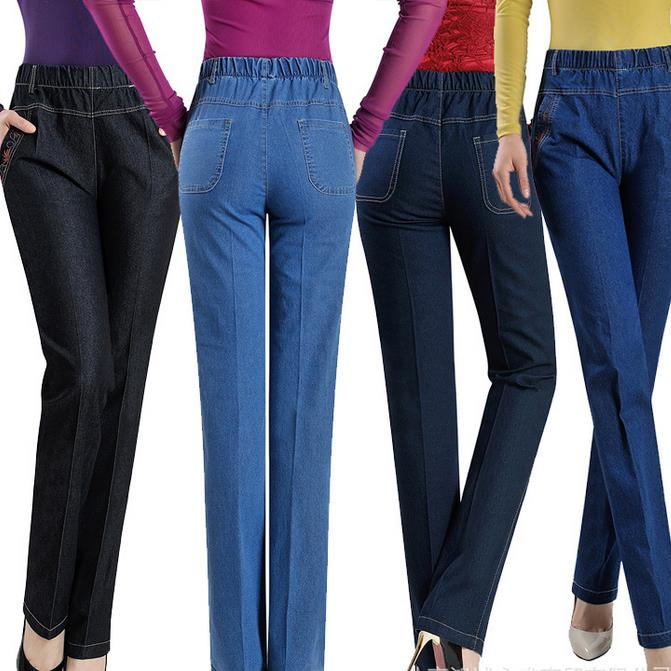 New spring and summer women's straight   jeans   colors elastic waist pants casual pants plus size 9xl denim female