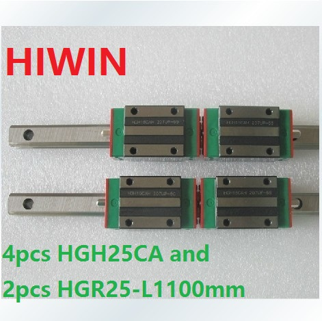 2pcs 100% original Hiwin linear guide linear rail HGR25 -L 1100mm + 4pcs HGH25CA linear narrow block for cnc router hiwin taiwan made 2pcs hgr25 l 600 mm linear guide rail with 4pcs hgh25ca or hgw25ca narrow sliding block cnc part