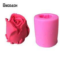 ENGDASH 1pc 3D Flower Rose Form Fondant Silicone Soap Cake Mold Cupcake Candy Chocolate Decoration Tool Baking Moulds