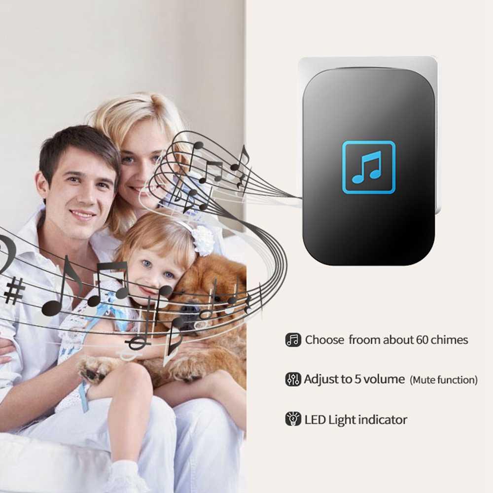 Timbre inalámbrico para casa inteligente luz LED impermeable 1 botón 1 2 receptor US EU UK AU enchufe batería llamada inteligente bell timbre