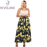 IN VOLAND Brand Women Lemon Print Skirt Oversize Summer Fashion High Waist Lemon Print A Line