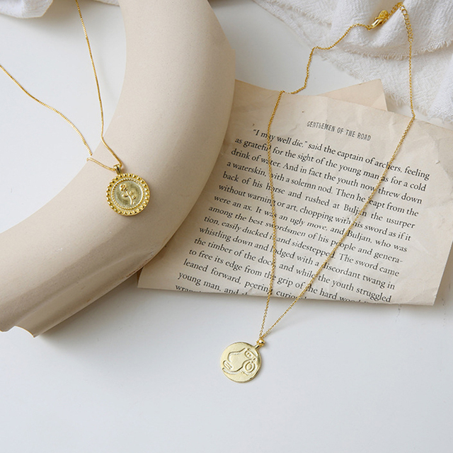 93e461f9339a1 US $2.85 5% OFF|Ins Fashion Vintage Gold Coin Necklace Carved Rose Flower  Delicate Sweater Chain Abstract Face Necklaces for Women Charm Jewelry-in  ...