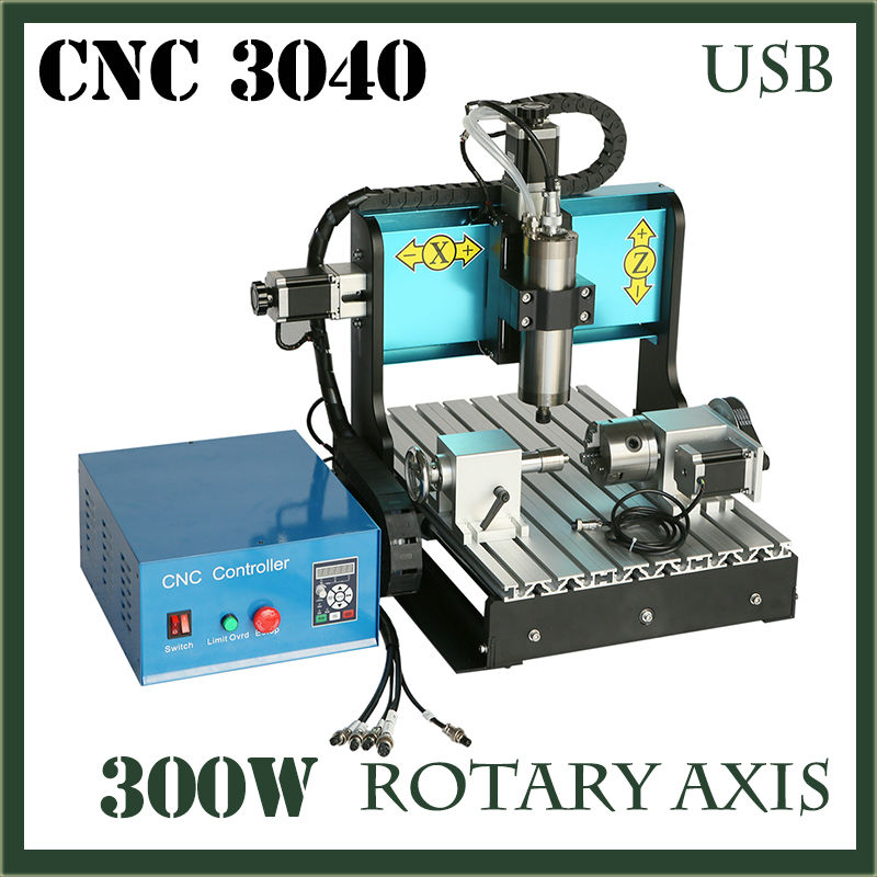 JFT CNC 3040 300W 4 Axis Spindle Motor with USB 2.0 Port Wood Carving Engraving Metal Mini Cnc 3D Milling Machine Router Kit  jft cnc router 3040 600w 4 axis with usb 2 0 port high precision mini jewelry cnc router wood engraving drilling milling machine
