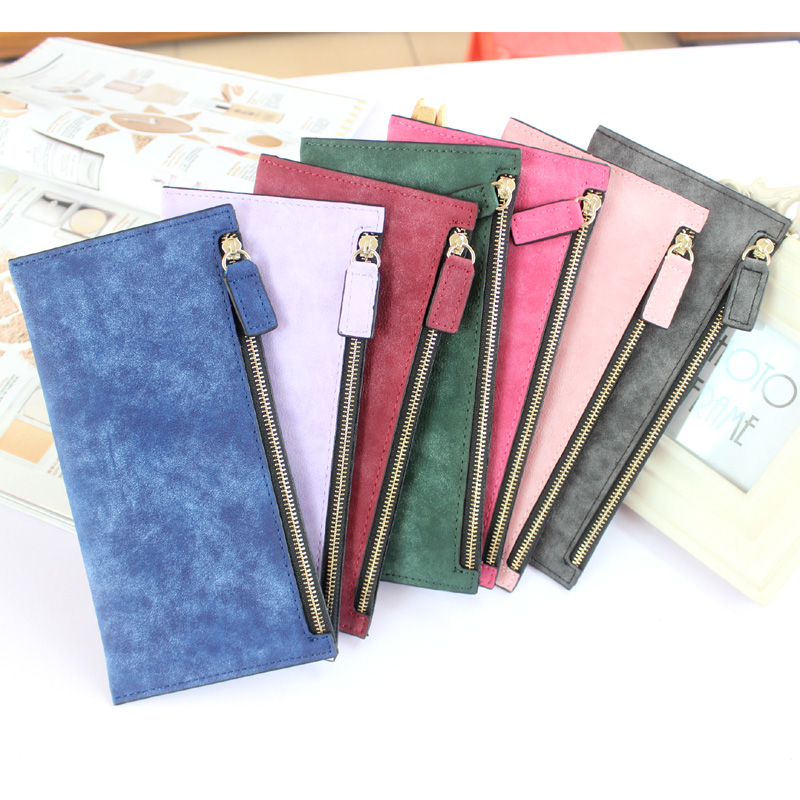 Simple candy color women wallet girls ladies long design zipper wallet women nubuck leather wallet coin purse hot clutch purse